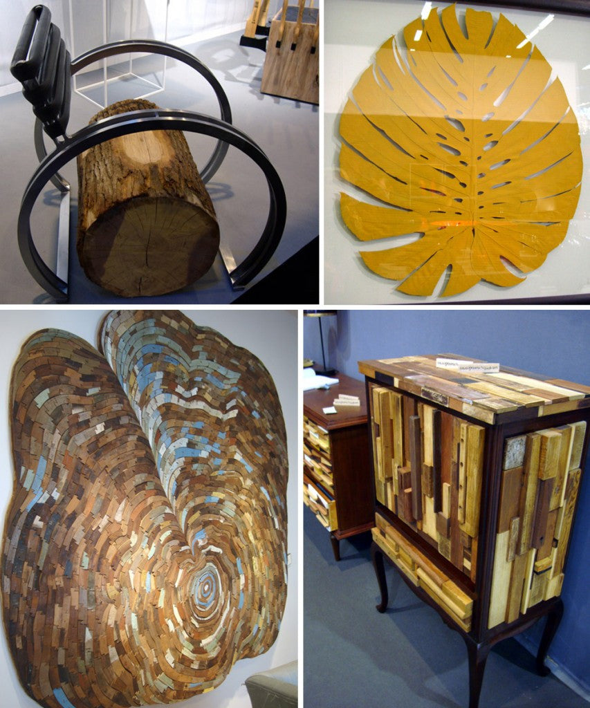Natural Inspired Furniture Including A Chair Made From A Log And Yellow Leaf Wall Art