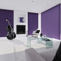 Purple vertical blinds in a fancy living space