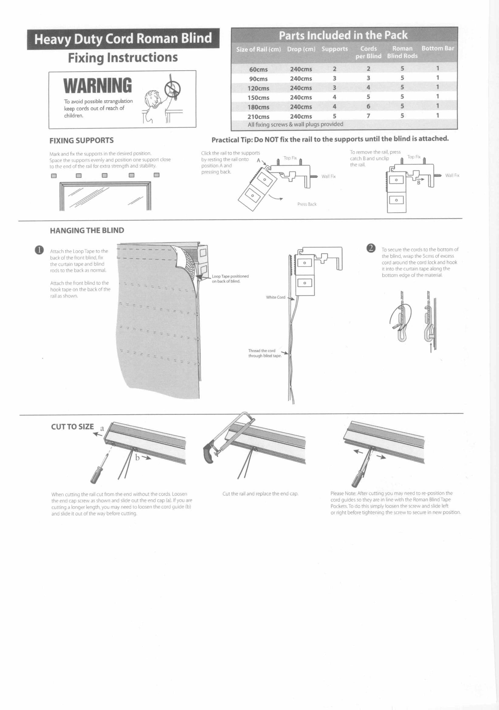 Roman Blind Cassette Fitting Instructions One