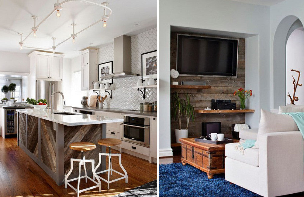 Two rustic interiors in a collage, left is the kitchen and right is a living room with tv