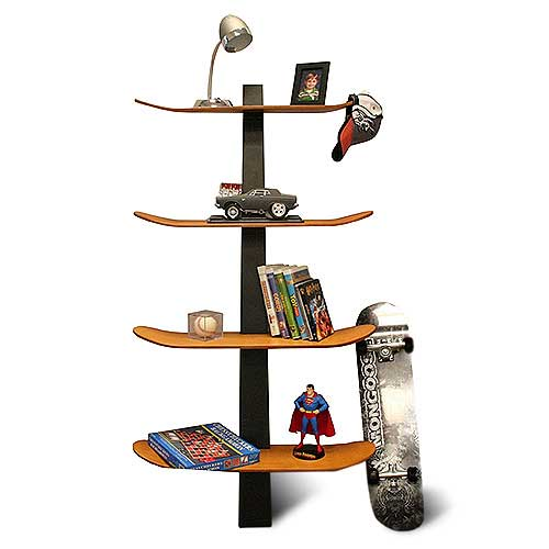 Four skateboards used to create a set of shelves
