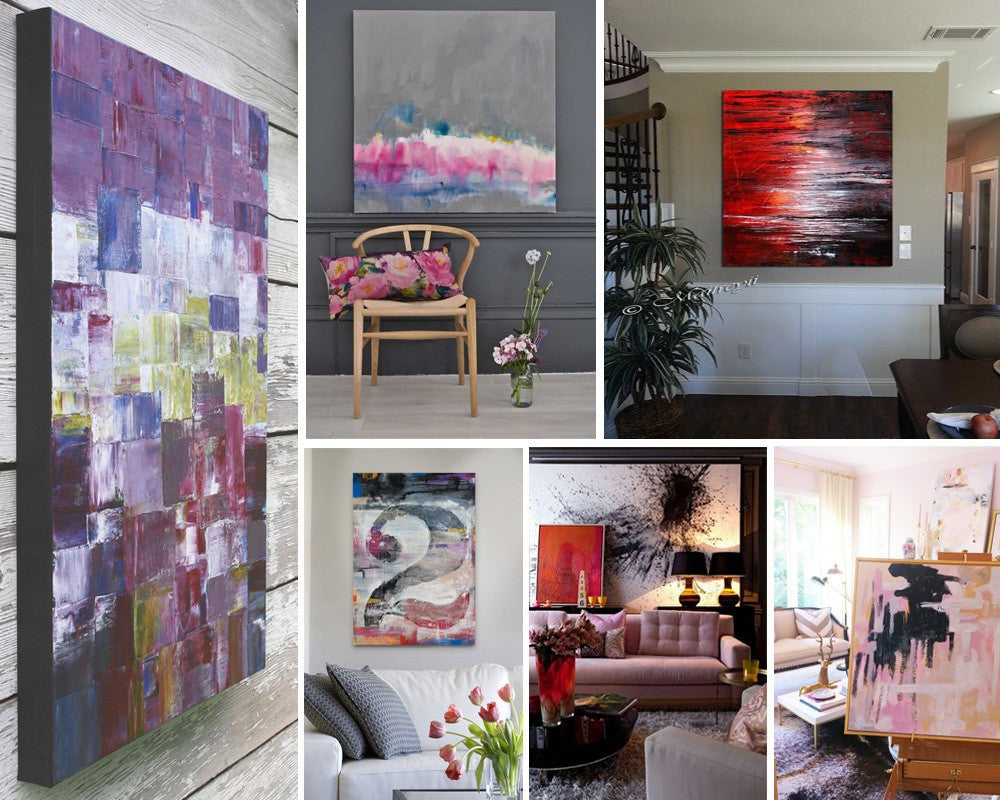 Abstract Painting Collage Of Six Canvas Paintings