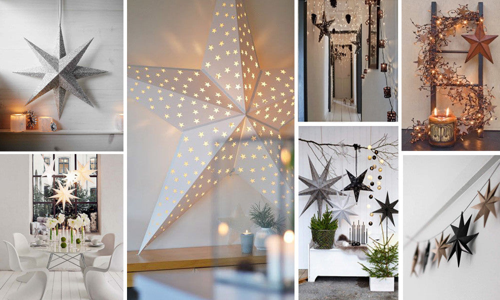 A number of different uses of stars and fairy lights in the home to create a festive look