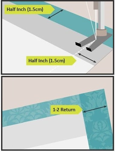 Illustration on how to sew lining into curtains
