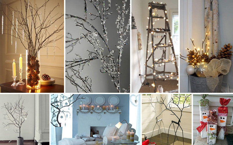 Eight photos using twigs and fairy lights in different ways to create a festive look in the home