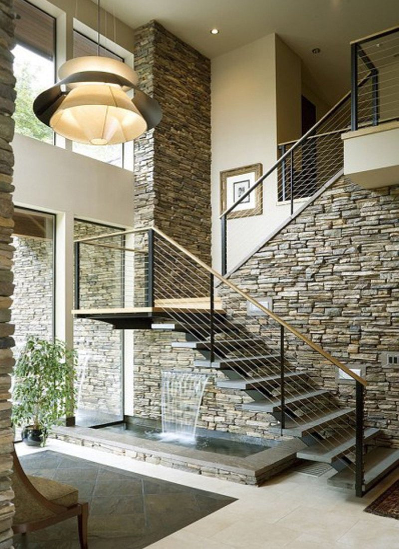 Classy stone stairs and water feature