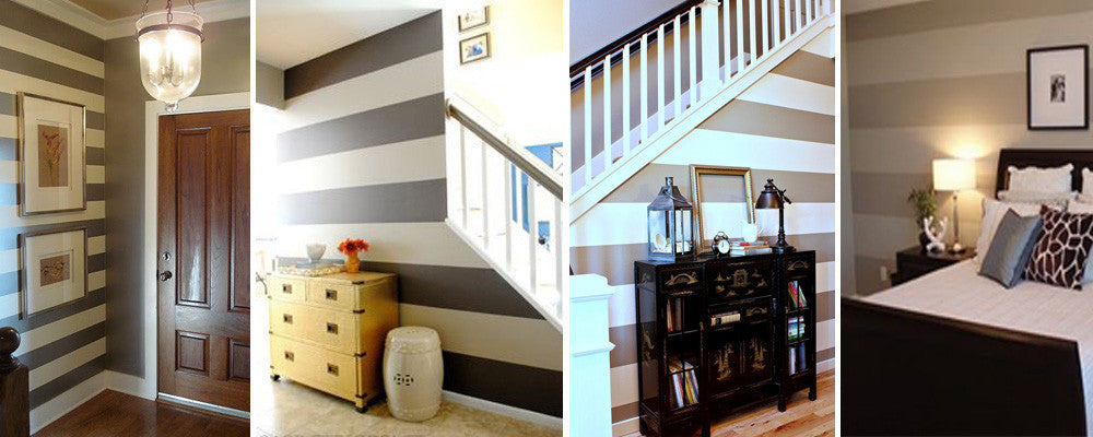 Striped walls in bedroom and on staircase wall