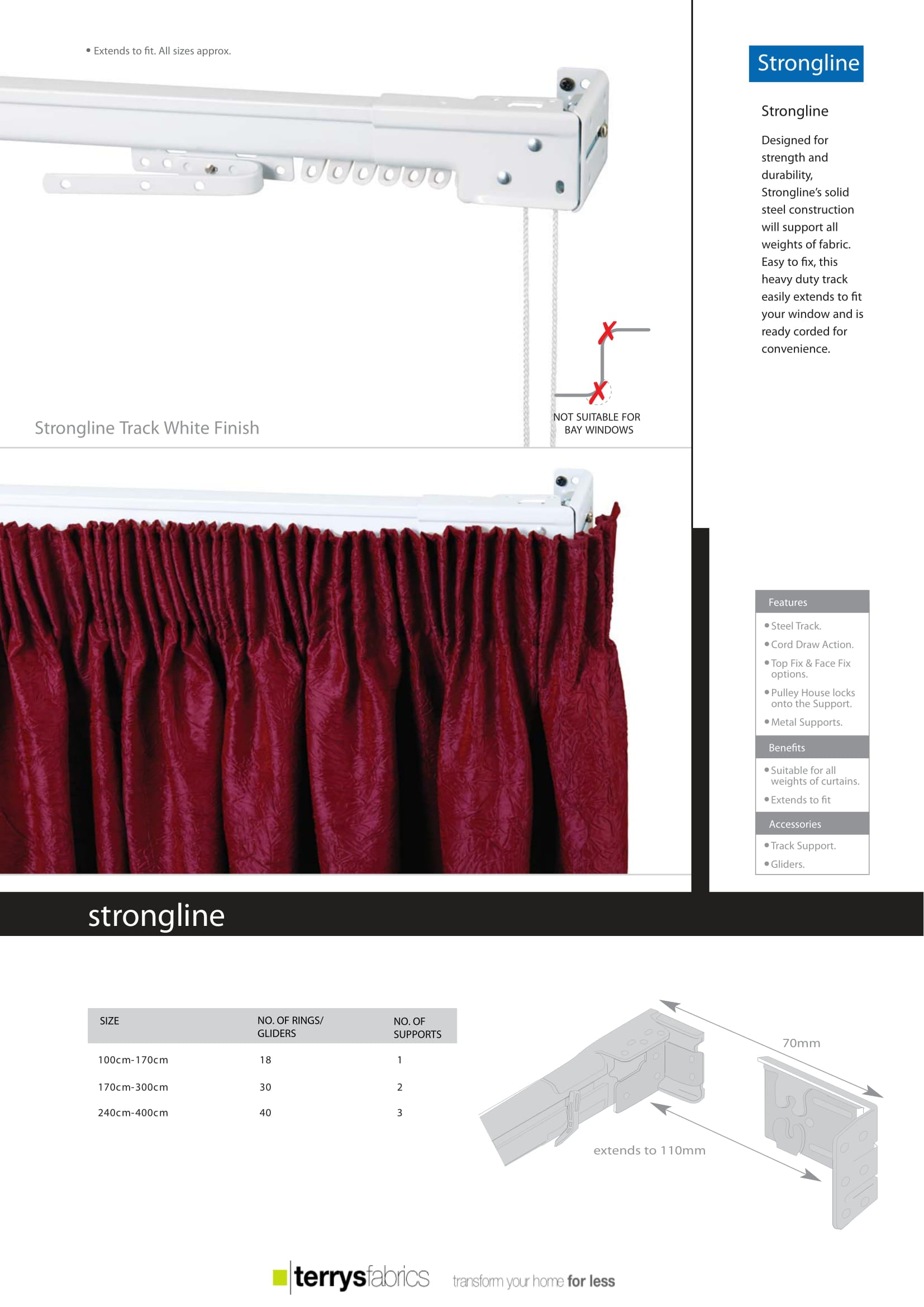 Strongline Curtain Track Product Details
