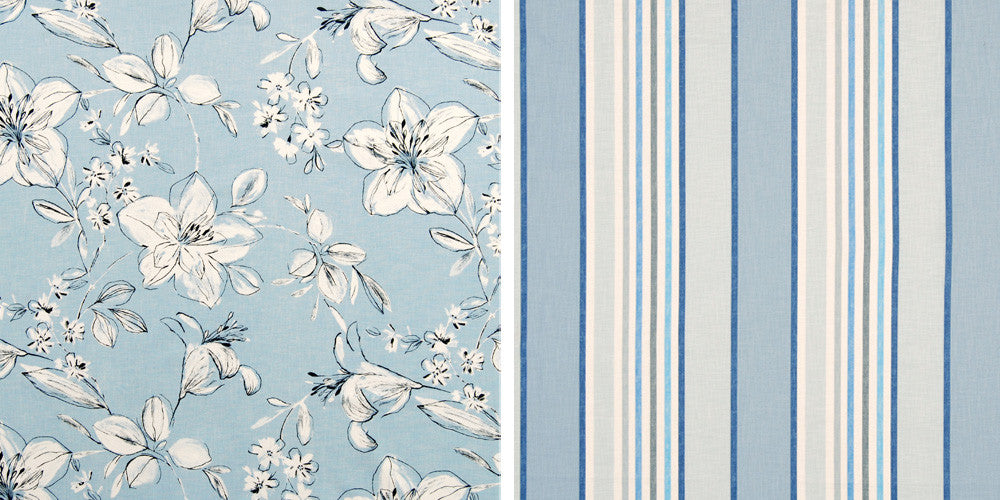 Light blue fabric swatches, one floral, the other striped