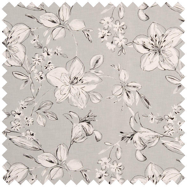 Swatch of summer fair floral fabric in grey and beige