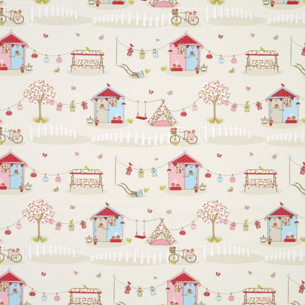 Cream fabric with pink tree, tent and grarden shed cute design