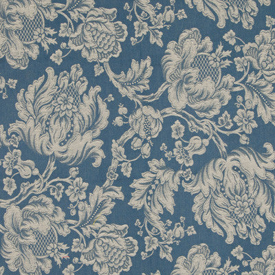 Darker blue fabric swatch with beige floral pattern