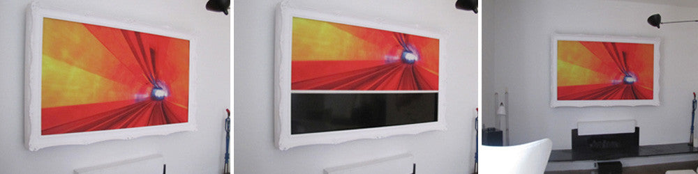 Wall mounted TV with retractable picture canvas that conceals the screen