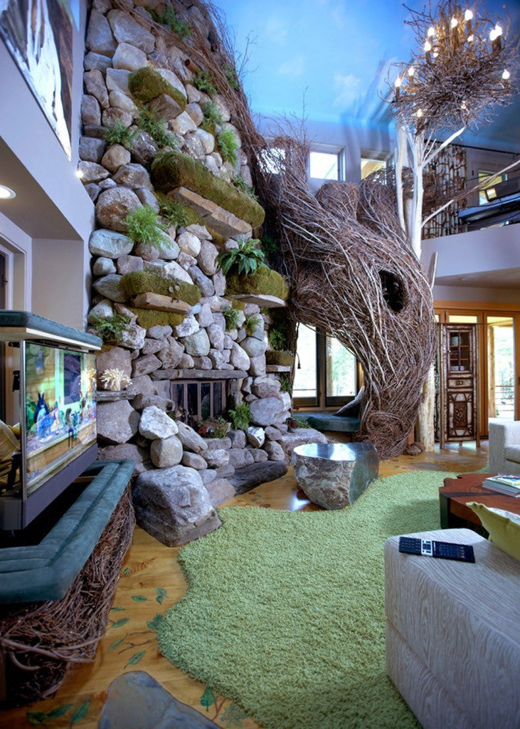 Stunning Living Space With Rockery And Weaving Branch Staircase