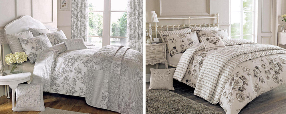Collage of two beds with white and cream bedding with a grey and black floral pattern