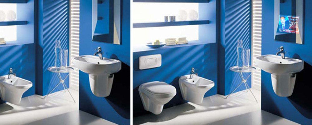 Blue and white bathroom with smart mirror above the sink containing a TV screen