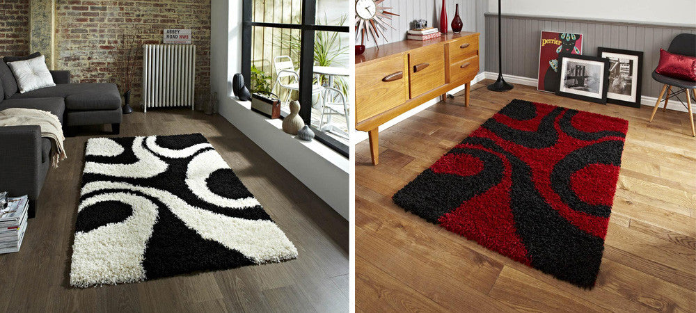 Two different rugs with swirling patterns, left: black and white, right: black and red