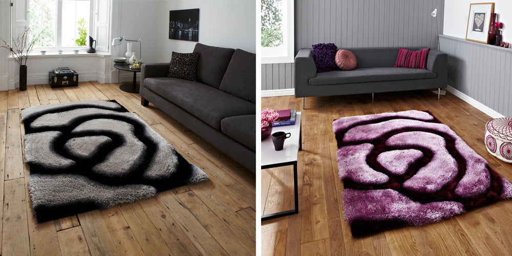 Two different swirling patterned rugs, left: black and grey, right: purple and black