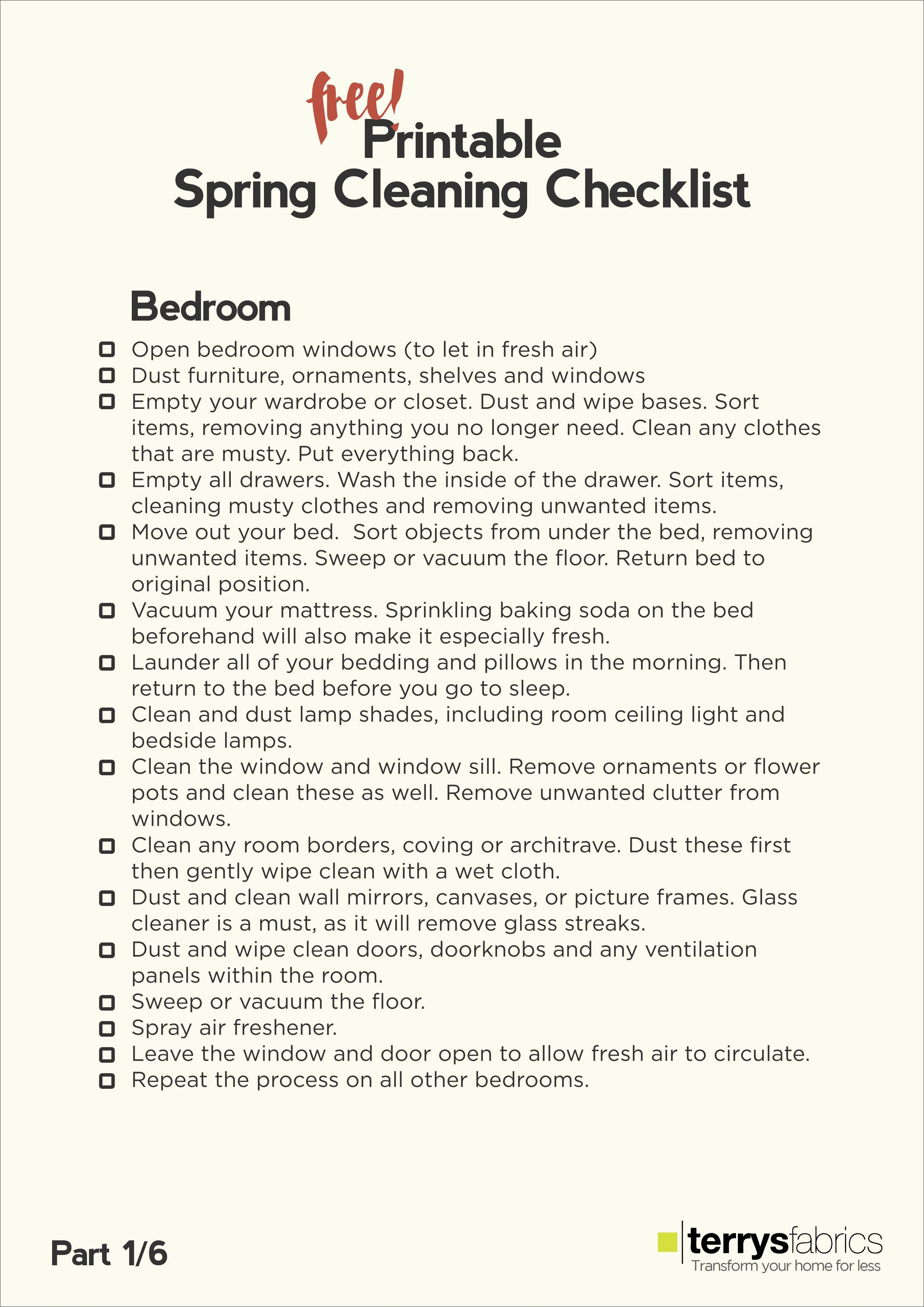 The Ultimate Spring Cleaning Free Printable Checklist 1/6 | ecogreenlove