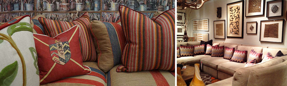 Two Photos, Each Of Cushions On a Sofa