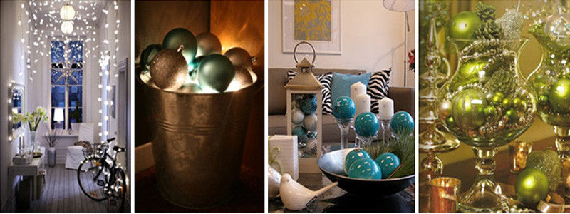 Four photos using fairy lights and baubles in different ways in the home
