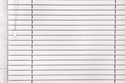 White venetian blinds closeup