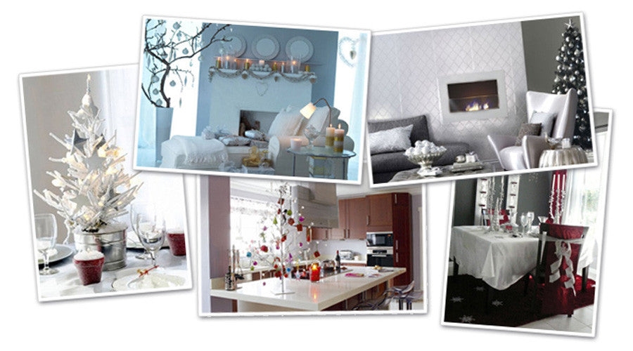 Collage of white decors at Christmas