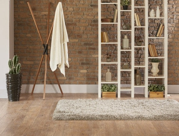 European Shelves And Cream Thick Pile Rug On Hardwood Floor