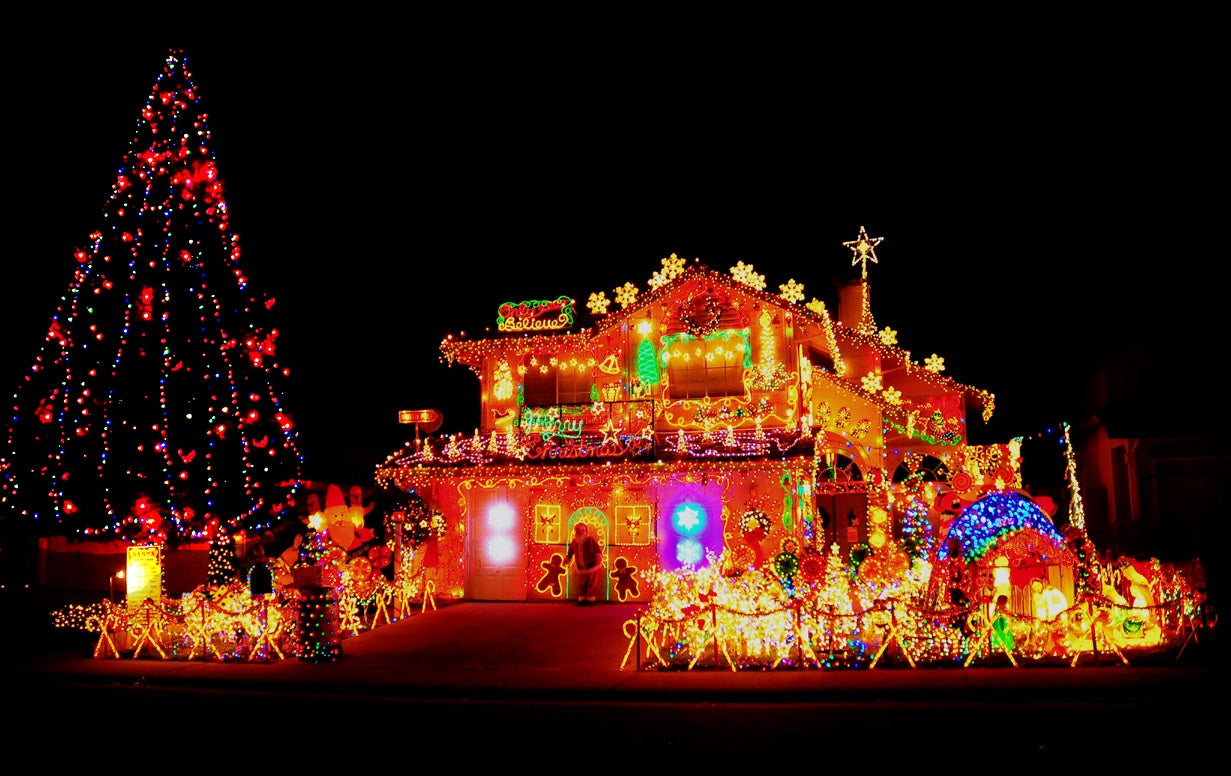 A house absolutely covered in Christmas lights