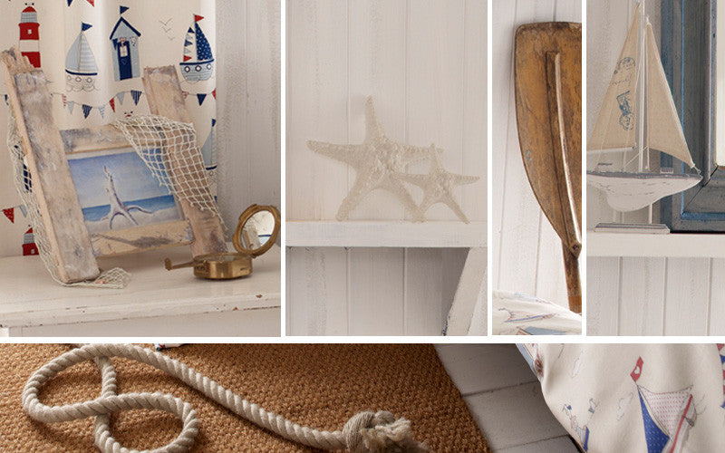Collage of nautical items and decor accessories