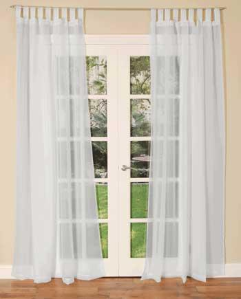 HC Ready Made Curtains Tab Top Voile Single Curtain Panel White Picture