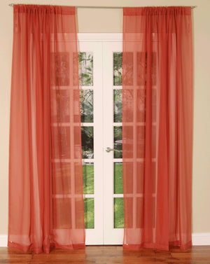 Slot Top Voile Curtain Panel Terracotta