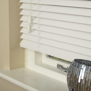 35mm Essence Fauxwood Venetian Blind Fine Grain True White