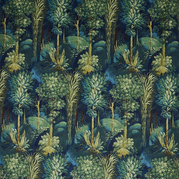 Forbidden Forest Digitally Printed Velvet Curtain Fabric Sapphire