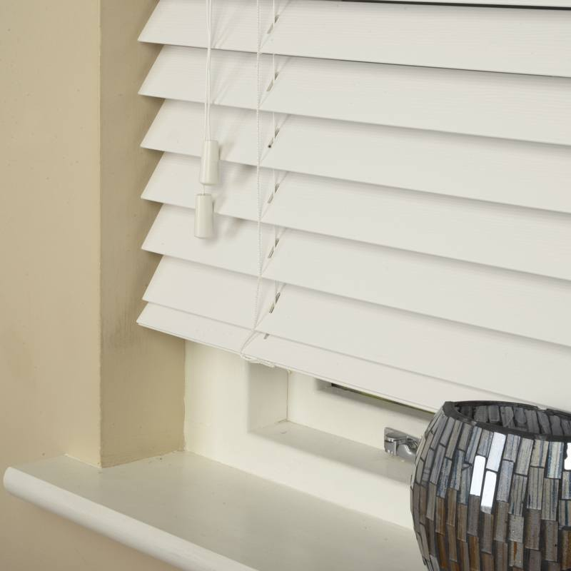 Decora Fauxwood 50mm Wood Essence Venetian Blind Fine Grain True White Picture