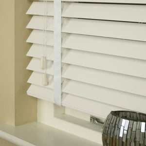 50mm Essence Fauxwood Venetian Blind With 38mm Herringbone Tapes Mirage Parchment