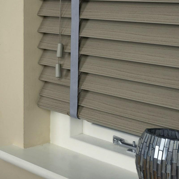 50mm Essence Fauxwood Venetian Blind With 38mm Herringbone Tapes Stratus Grey