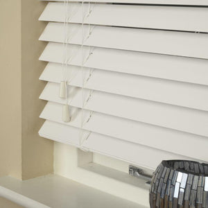 50mm Essence Fauxwood Venetian Blind True White