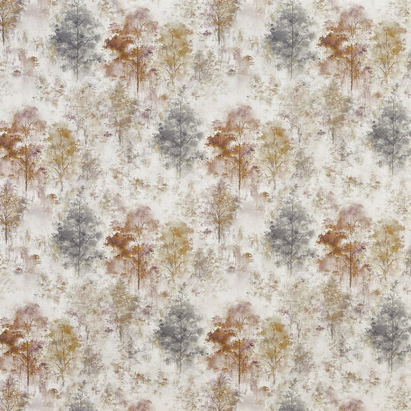 Woodland Digital Curtain Fabric Rosemist
