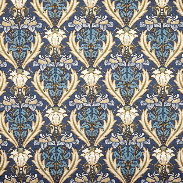 Acanthus Curtain Fabric Navy