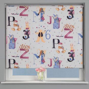 Alphabet Blackout Roller Blind White
