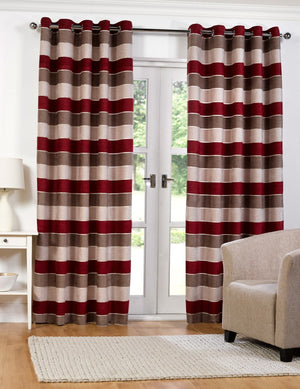 Barcelona Ready Made Lined Eyelet Curtains Red