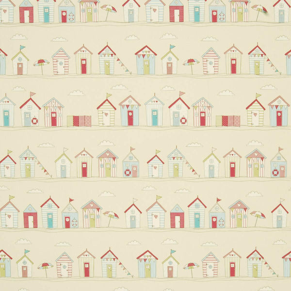 Beach Huts Curtain Fabric Pink