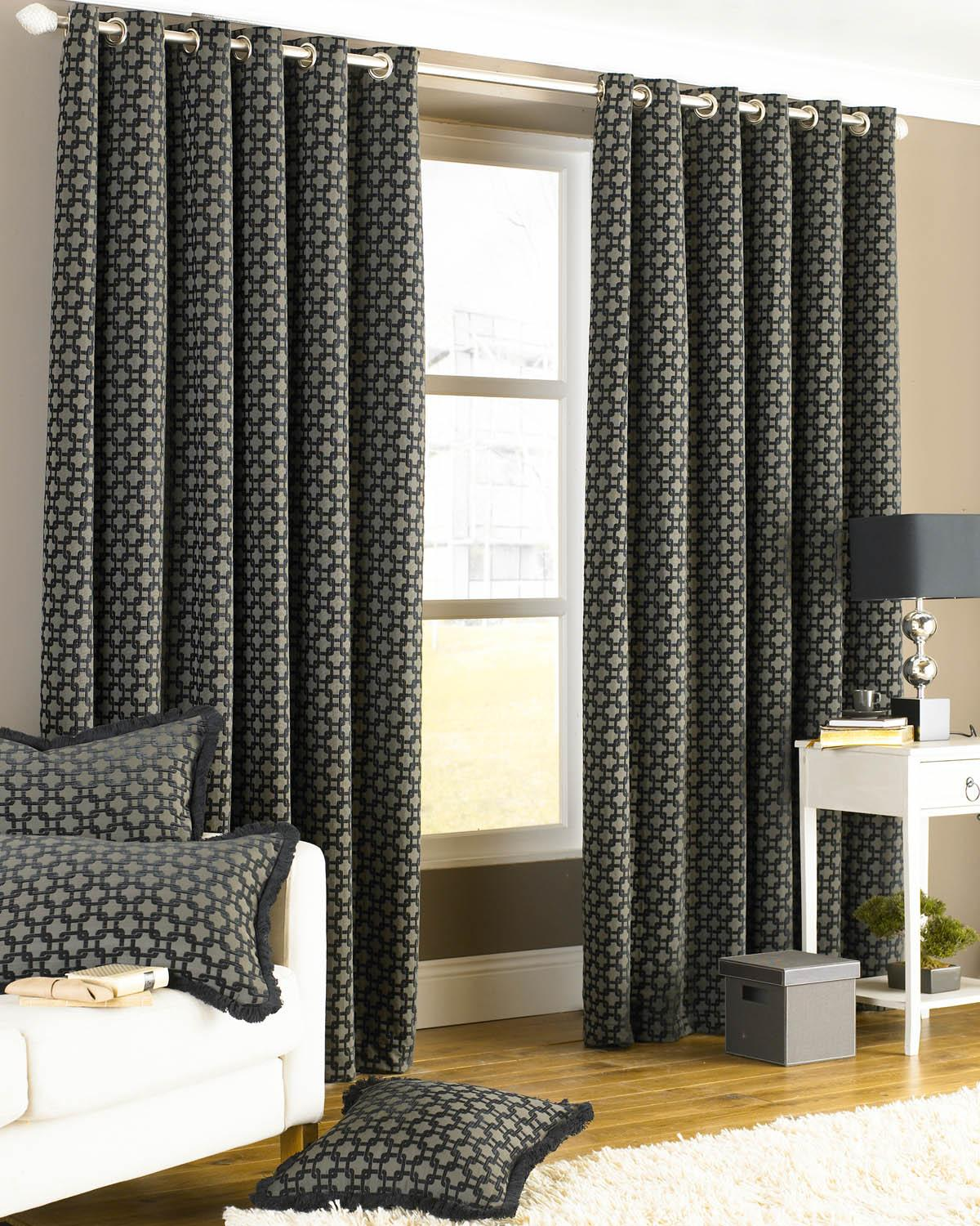 Riva Ready Made Curtains Belmont Eyelet Lined Curtains Black Picture