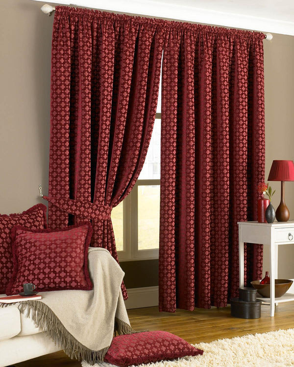 Belmont Ready Made Lined Curtains Claret