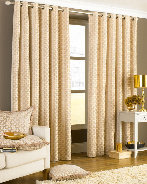 Belmont Eyelet Lined Curtains Beige
