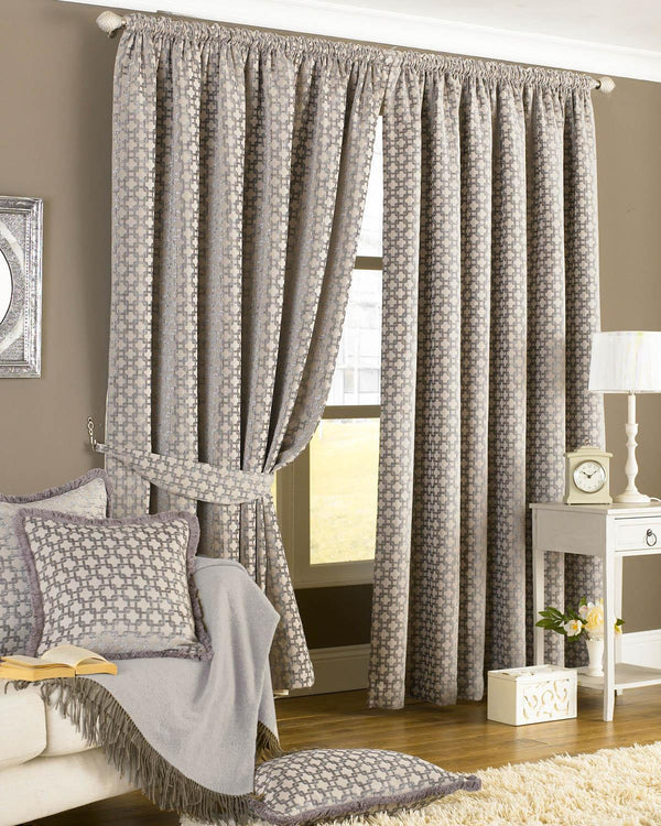 Belmont Ready Made Lined Curtains Silver