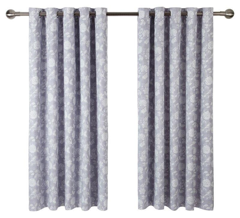 Smd Ready Made Curtains Bird Garden Lined Eyelet Curtains Lavender Picture