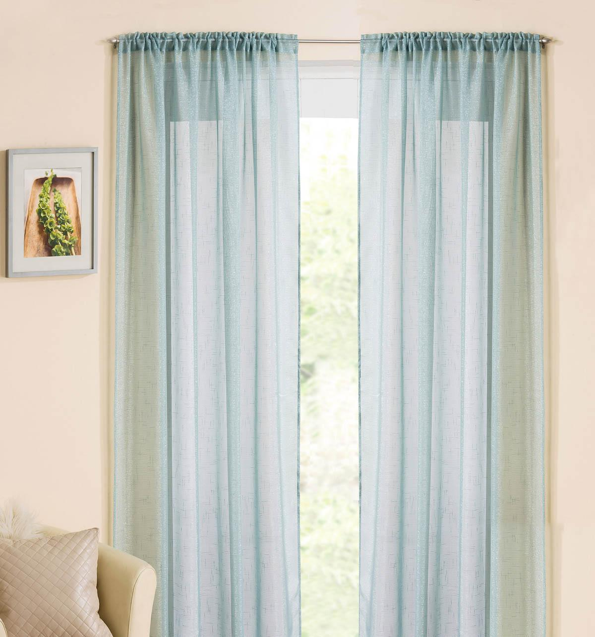 Tyrone Ready Made Curtains  Casablanca Rod Pocket Voile Panel Duck Egg Blue