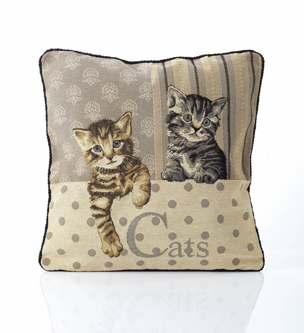 Cat Tapestry Filled Cushion Multi